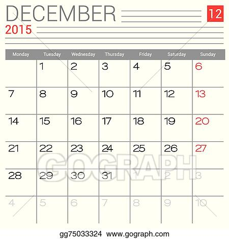 Vector Clipart - December 2015 calendar  Vector Illustration