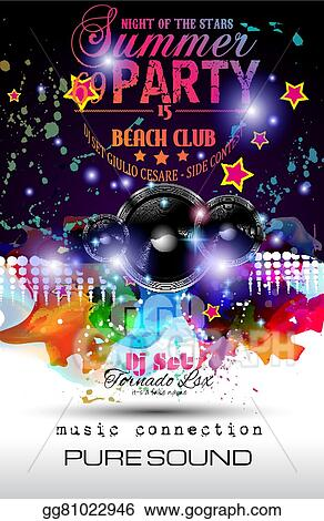 Vector Illustration - Disco night club flyer layout with speaker