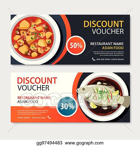 Vector Stock - Discount voucher asian food template design chinese
