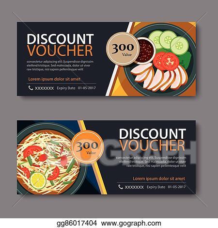 Vector Clipart - Discount voucher template with thai food flat - food voucher template