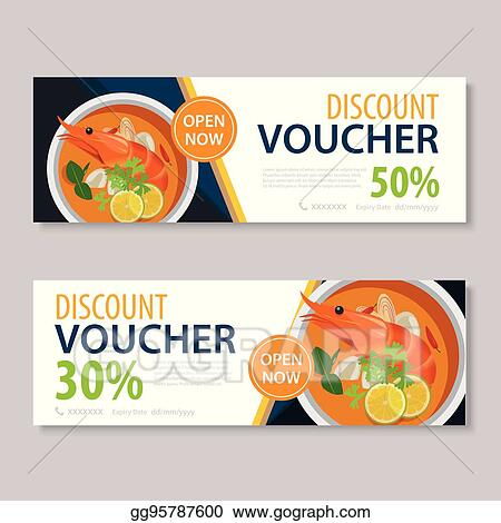 Vector Clipart - Discount voucher template with thai food flat
