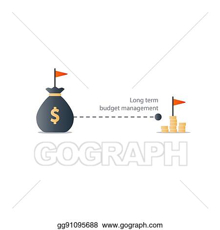 EPS Illustration - Distant future financial target, budget plan icon - budget plan