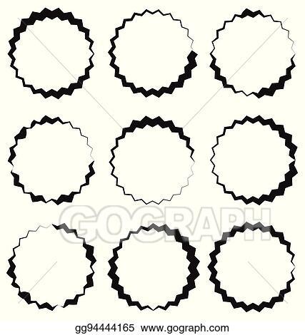 Vector Stock - Edgy, zigzag circle frame, circle border textured