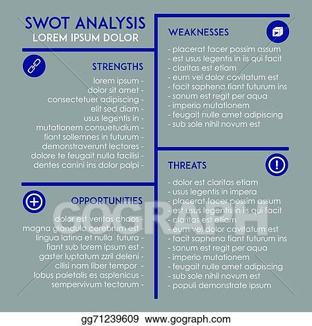 Vector Stock - Editable swot analysis template Clipart Illustration