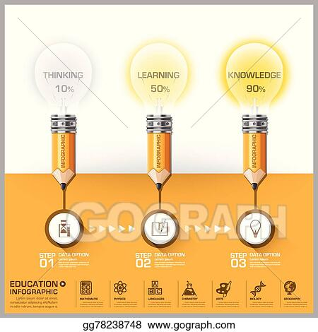 Vector Illustration - Education and learning pencil with light bulb