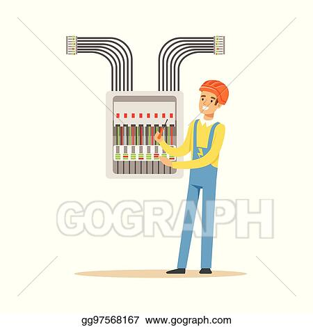 Vector Stock - Electrician engineer screwing equipment in fuse box