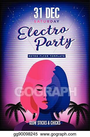 Vector Art - Electro party poster retro 80s neon background disco