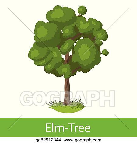 EPS Vector - Elm-tree cartoon icon Stock Clipart Illustration