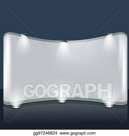 Vector Clipart - Exhibition trade booth template with lights and