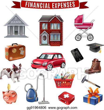 Vector Stock - Family expenses flat icons collection Clipart
