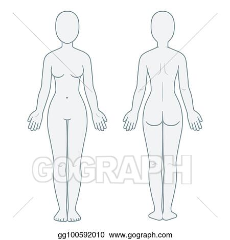 EPS Illustration - Female body front and back Vector Clipart