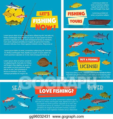 Vector Stock - Fishing sport poster and banner template design
