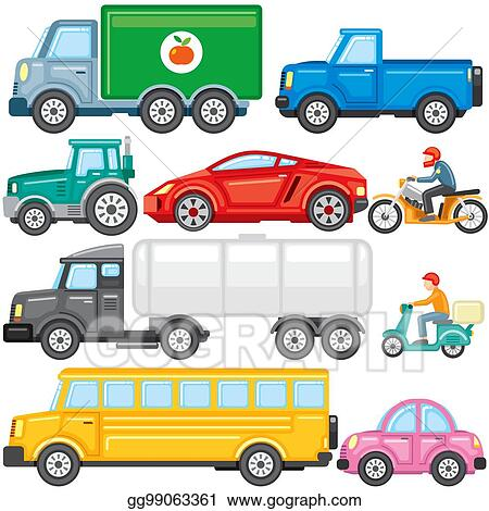 Vector Stock - Flat colored cartoon cars and trucks vector icons