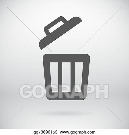 Vector Stock - Flat trash can sign vector delete litter bucket