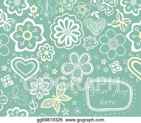 Drawing - Floral background, summer theme, greeting card template
