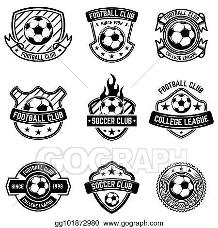 Stock Illustration - Football club emblems on white background