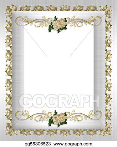 Stock Illustration - Formal invitation template white satin Clip
