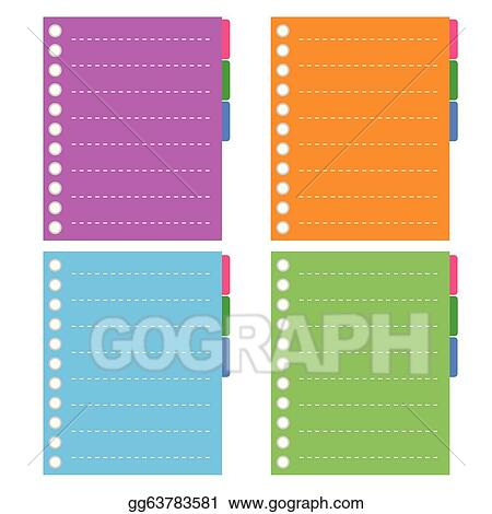 EPS Illustration - Four color of lined spiral notepad papers with