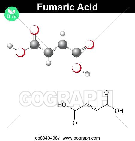 Vector Clipart - Fumaric acid molecule Vector Illustration