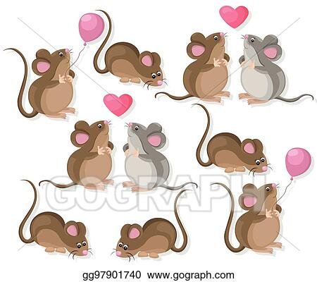 EPS Illustration - Funny cute mice couple characters in love