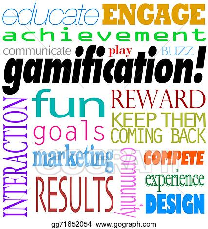 Clipart - Gamification words interaction education engagement - words for achievement