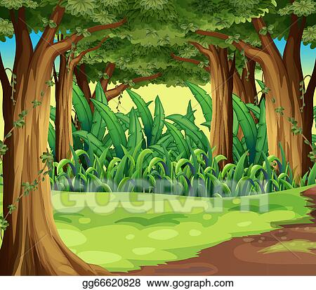 Cartoon Animation Wallpaper Free Download Vector Art Giant Trees In The Forest Clipart Drawing