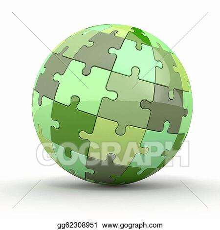 Drawing - Globe or sphere from puzzles 3d Clipart Drawing