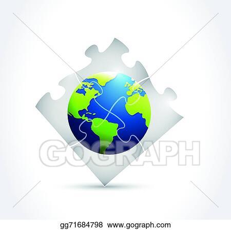 Vector Art - Globe puzzle illustration design Clipart Drawing