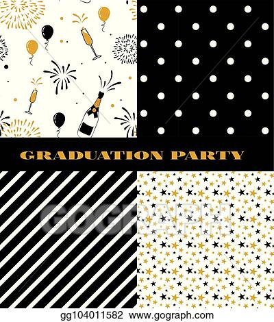 Vector Clipart - Graduation pattern collection black and golden
