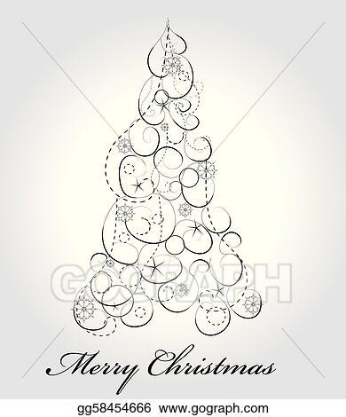 Clip Art Vector - Graphic elegant christmas tree Stock EPS