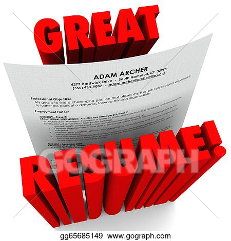 Stock Illustrations - Great resume 3d red words successful
