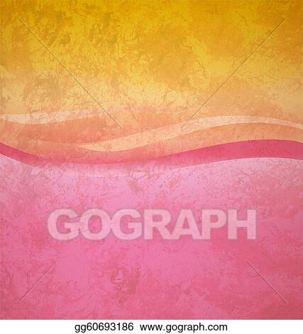 Stock Illustrations - Grunge yellow and pink abstract wave square