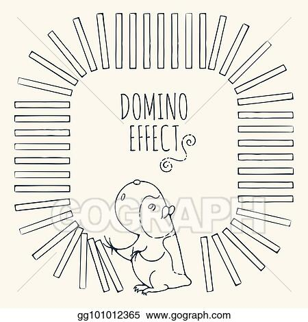 Vector Clipart - Guinea pig starts a chain of dominoes figured