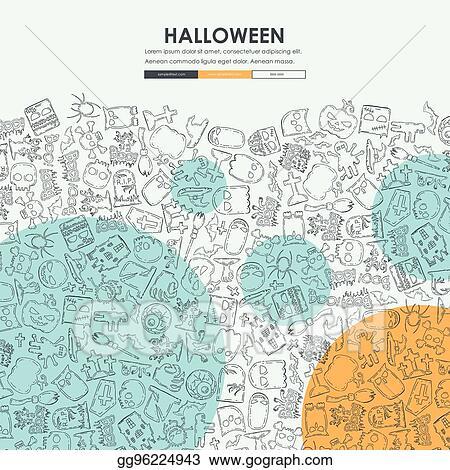 Vector Stock - Halloween doodle website template design Stock Clip