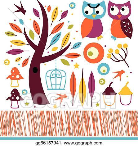 Clip Art Vector - Halloween night owl template with c Stock EPS