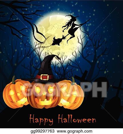 Vector Clipart - Halloween spooky background Vector Illustration