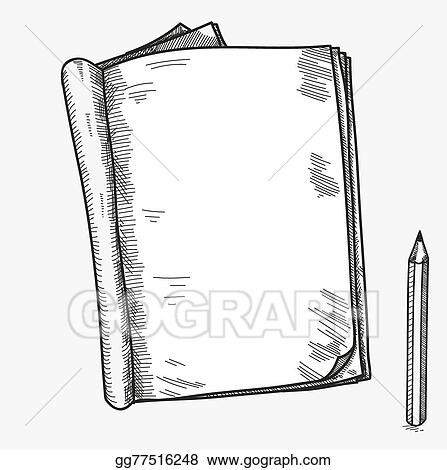 Vector Illustration - Hand drawn doodle sketch open notebook, clear