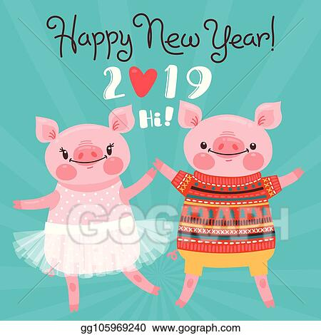 Vector Art - Happy 2019 new year card couple of funny piglets