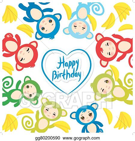 EPS Illustration - Happy birthday card template, funny green blue