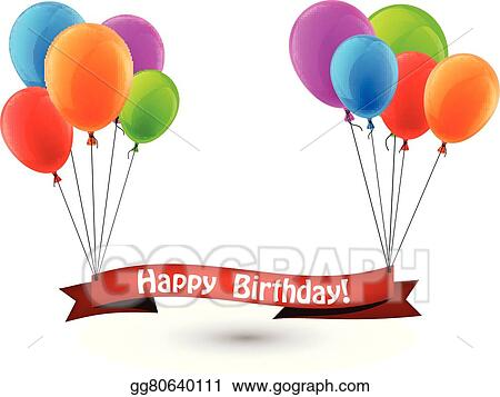 Vector Art - Happy birthday red ribbon background with balloons