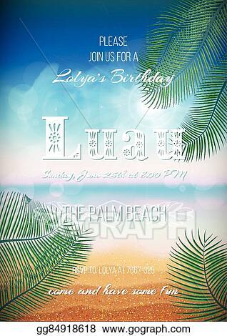 Vector Illustration - Hawaiian party, luau feast poster, flyer