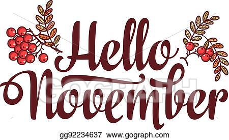 Vector Stock - Hello november lettering composition flyer or banner