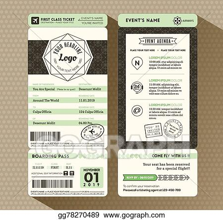 Vector Stock - Hipster design boarding pass ticket event invitation