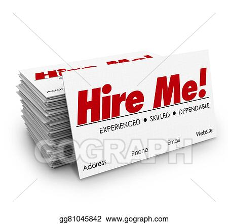 Stock Illustration - Hire me business cards apply job interview