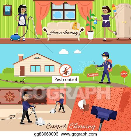 EPS Vector - House cleaning and pest control Stock Clipart