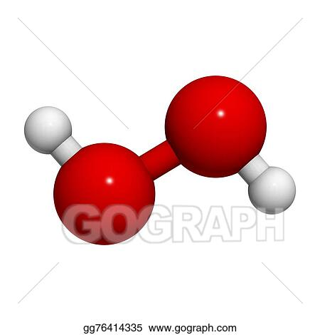 Stock Illustration - Hydrogen peroxide (h2o2) molecule Clipart