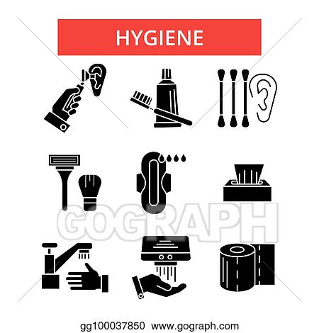Vector Stock - Hygiene illustration, thin line icons, linear flat