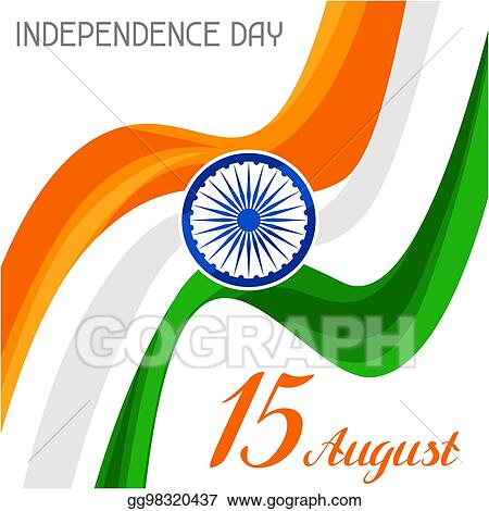Vector Clipart - India independence day greeting card celebration