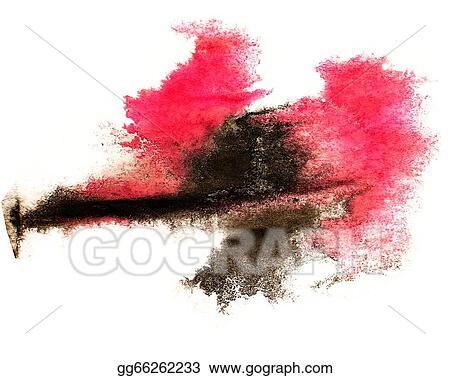 Stock Illustration - Ink red, black watercolor paint splatter splash