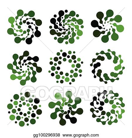 EPS Vector - Isolated abstract green color round shape logo set on